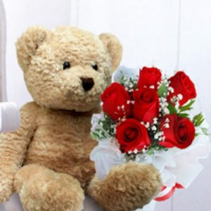 teddy bear and flowers 01