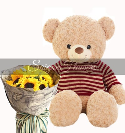 teddy bear and flowers 02