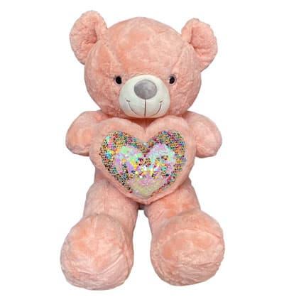 pinkish-orang-teddy-bear-heart