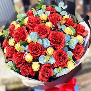 Special Artificial Roses And Chocolate